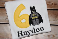 Personalized Birthday Shirt Number with Batboy Batman by PerryWinklesEmb