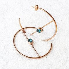 Swarovski Hoop Earrings   Ziggy   Bidiliia Rose Gold Earrings, Gold Hoop Earrings, Stud Earrings, Swarovski Crystals, Jewelry Making, Personal Branding, Unique Jewelry, Centre, Ears