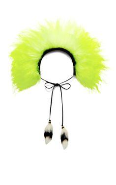 Acid Yellow Olivia Mongolian Fur Collar by Tanya Taylor for Preorder on Moda Operandi