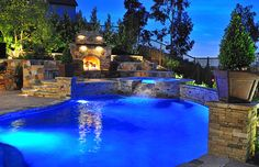 Traditional Pool with Fireplace - traditional - pool - orange county - by Fluid Dynamics Pool and Spa Inc.