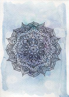 Purple and Blue Mandala Watercolor Painting, Mandala Art, Yoga Art, Flower Art, Geometric Art, Home Decor