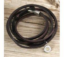 Bullet Charm Leather Wrap Bracelet