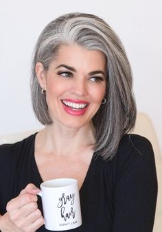 Fashion Look Mid-Length Ladies Grey Wig - Hair - Cheveux Curly Hair Styles, Natural Hair Styles, Grey Hair Natural, Grey Hair Styles For Women, Hair Patterns, Silver Grey Hair, Short Hairstyles For Women, Quick Hairstyles, Pretty Hairstyles