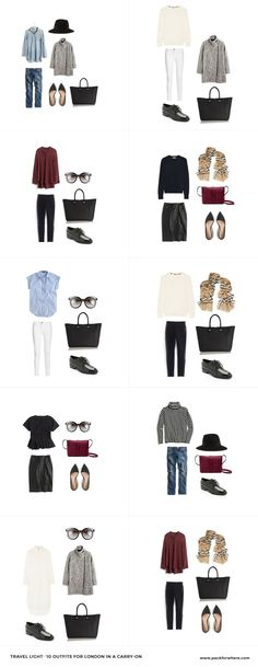 What to wear in London, Packing list includes 20 items, 10+ outfits, in 1 carryon.