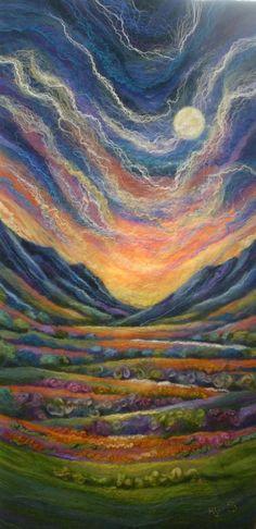 Ali Scott - Felt Artist | Ceredigion Art Trails Wet Felting Projects, Needle Felting Tutorials, Needle Felting Kits, Needle Felted, Stuffed Animals, Felt Wall Hanging, Calla, Felt Pictures, Felt Fairy