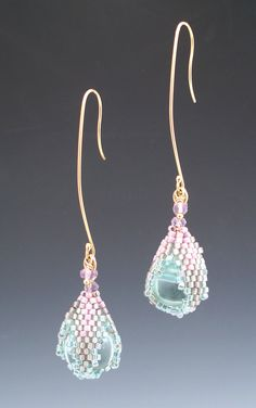 Aqua Sphinx Drops with amethyst by Mikelle Hickman-Romine