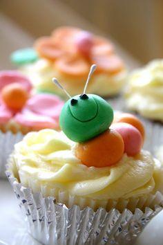 Sweet Scarlet Caterpillars' Garden Cupcakes