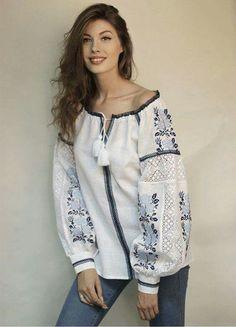 White women's embroidery with blue roses and lace Folk Fashion, Ethnic Fashion, Womens Fashion, Ukrainian Dress, Pakistani Fashion Casual, Organza, Embroidered Clothes, Traditional Fashion, Embroidery Dress