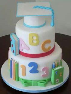 Formatura ABC Teachers Day Cake, Alphabet Cake, Colorful Birthday Party, School Cake, Graduation Cupcakes, 2 Birthday Cake, Cake Tins, Love Cake, Savoury Cake