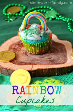 Rainbow Cupcakes – Perfect for St. Pattys Day from Simmworks Family
