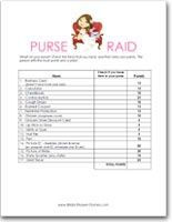 Free printable wedding shower games - Whats In Your Purse... word scramble... word search... virginia-shower-ideas