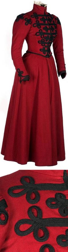 This piece is a perfect example of a feminine version of a Fuchsburg uniform, complete with the Fuchsburger colors. Jacket and skirt, ca. Red wool twill lined with cotton. Black cotton soutache trim on boned bodice, with white organza lace on collar. 1890s Fashion, Edwardian Fashion, Vintage Fashion, Women's Fashion, Antique Clothing, Historical Clothing, Vintage Dresses, Vintage Outfits, Vetements Clothing
