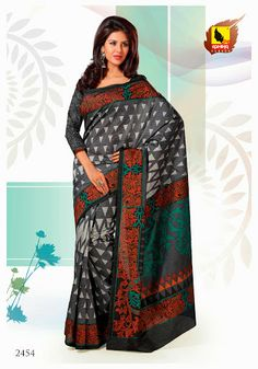 Exotica Collection 2454  Self embossed Grey color saree crafted on Raw silk material makes the saree look classic. This saree is accompained with matching blouse piece