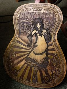 "Custom Engraved Guitar ""Rhythm Goddess"" - Bragino.com"