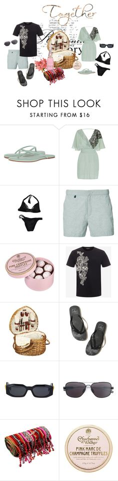 """Darcy: Private Beach Island - Lazy Summer Day"" by foreevers ❤ liked on Polyvore featuring Yosi Samra, La Perla, KATAMA, Marc, Alexander McQueen, Picnic Time, Hollister Co., Versace and Dita"