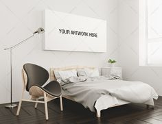 Canvas Mockup Bedroom Interior by positvtplus on @creativemarket