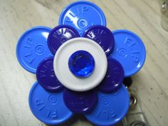 Badges with Vial Caps | Medicine flip off vial caps /Flower design ID badge holders