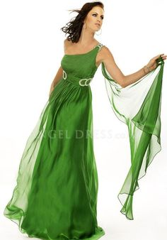 Chiffon A line One Shoulder Floor Length Zipper Back Sleeveless Dress