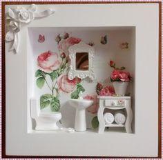 Gracioso quadro cenario de banheiro/lavabo, confeccionado  em mdf, pintura branca, fundo em decoupage, com papel flo  ral, com motivos de rosas, miniaturas em resina, vasinho com  florzinhas importadas, espelhinho provençal, mini aparador  em mdf, rico em detalhes.! Item que levará beleza e femin...