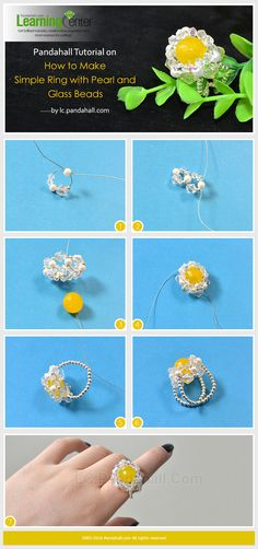 Pandahall Tutorial on How to Make Simple Ring with Pearl and Glass Beads from LC.Pandahall.com