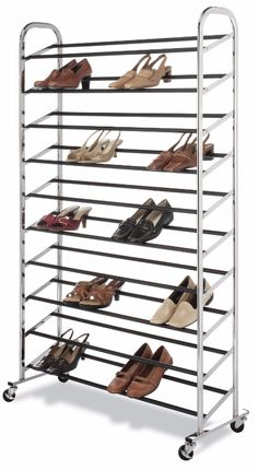 Wheel Carrier Shoe Rack Multilevel Tower Indoor View 50 Pair Storage Set  A chrome shoe tower capable of holding 50 pair of shoes is the answer to your shoe storage needs. It is easy to assemble and is made of durable chromed metal. It boast 10 tiers of non-slip tubes to hold your shoes and has durable wheels for easy mobility or the bottom rack sits flat on the floor for a stationary unit.