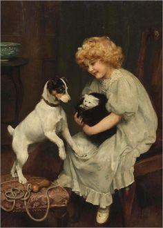 ARTHUR JOHN ELSLEY. with a cat