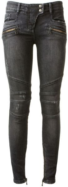 Something North might get for Sang... Balmain blue skinny biker jeans #style #fashion