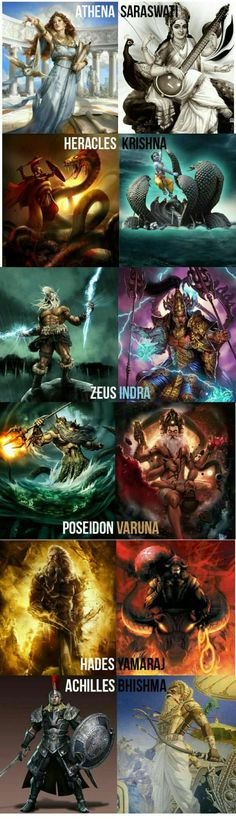 Hindu Gods and there Greek Counterparts - interesting but I thought Hindu gods were facets of the same deity. Plus that's not a pic of Hades, that's Zeus. Mythological Creatures, Mythical Creatures, Angels And Demons, Indian Gods, Deities, Cool Stuff, Roman Mythology, Greek Mythology Gods, Japanese Mythology