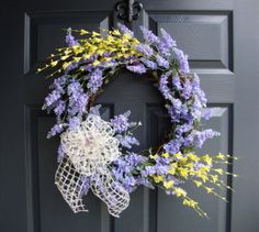 """Spring Wreaths, 20"""" Spring Lavender with Forsythia Door Wreaths, Spring Wreaths, Door Wreath, Wreaths, Easter Wreaths, Home Decorating Ideas on Etsy, $85.00"""