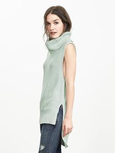Love this color!  High/Low Sleeveless Turtleneck