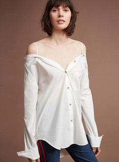 Sexy V-neck Asymmetric White Blouse