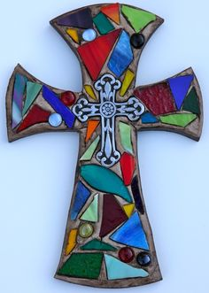 Mosaic Wall Cross. Reminds me of a stained glass window! $25.00 plus shipping