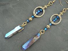 blue goddess earrings bohemian chic earrings quartz earrings yoga mystic crystal new age zen boho hipster hippie gypsy style Beaded Earrings, Beaded Jewelry, Beaded Bracelets, Handmade Jewelry, Handmade Keychains, Jewelry Clasps, Hoop Earrings, Sea Glass Jewelry, Crystal Jewelry