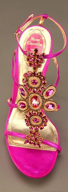Rene Caovilla | Pink Jewel Embellished Sandal