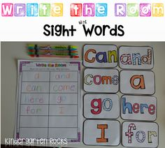 Sight Word Work.  Write the Room with Sight Words great for word work centers (kindergarten).
