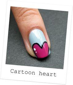 Cartoon Heart Nails-love this Funky Nails, Love Nails, How To Do Nails, Pretty Nails, Nail Art Diy, Diy Nails, Cartoon Heart, Nails Polish, Heart Nails