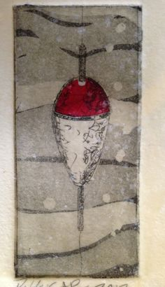 Bobber Aquatint etching with chine colle Dawn Rossbach