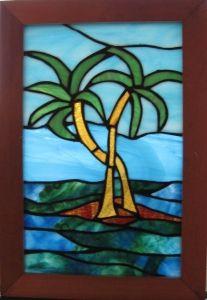 CARIBBEAN PALM TREES IN OCEAN