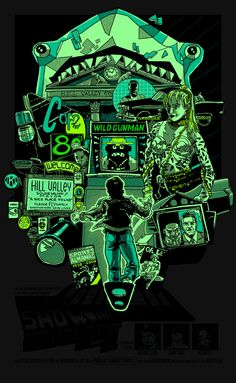 Back to the Future 2 Green Neon Glow Poster