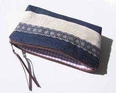 Trousse à maquillage en tissus japonais motif Asanoha + lin beige + jeans et…
