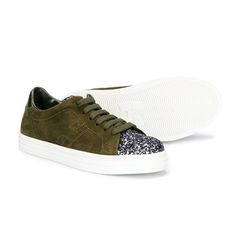Hogan - Sneaker Khaki Bambina Teen - Scarpa sportiva sneaker color verde khaki con inserti glitter firmata Hogan Junior della nuova Collezione A/I 2017/18 - Linea di #calzature #Bambina #Teenager. annameglio.com #shoponline #hogan #sneaker #ai17-18 #fw-17-18 #hoganjunior #moda #luxury #fashion #look #teen