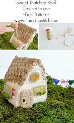 Little Thatch Roof Crochet House Pattern - super cute little house, and a free pattern that is very easy from www.mamainastitch.com