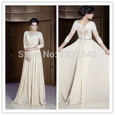 Modest evening gown. Lace top with belted waist. 3/4 sleeve.