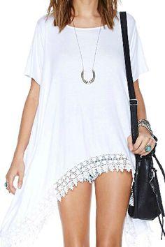 abaday Oversized Asymmetric Lace Hem T-shirt - Fashion Clothing, Latest Street Fashion At Abaday.com
