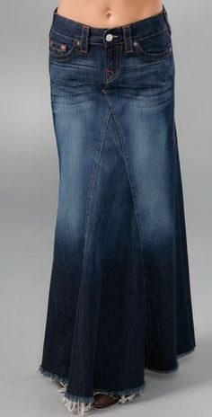Finally a denim skirt that has the look and feel of a great pair of jeans! Modest Outfits, Skirt Outfits, Modest Fashion, Dress Skirt, Cute Outfits, Jeans Denim, Jeans Rock, Diy Rock, Denim Fashion