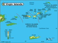Map Of Antigua Between The Caribbean And The Atlantic Ocean - Us and british virgin islands map