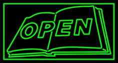 Book Open Logo Neon Sign 20 Tall x 37 Wide x 3 Deep, is 100% Handcrafted with Real Glass Tube Neon Sign. !!! Made in USA !!!  Colors on the sign are Green. Book Open Logo Neon Sign is high impact, eye catching, real glass tube neon sign. This characteristic glow can attract customers like nothing else, virtually burning your identity into the minds of potential and future customers. Book Open Logo Neon Sign can be left on 24 hours a day, seven days a week, 365 days a year...for decades. ...