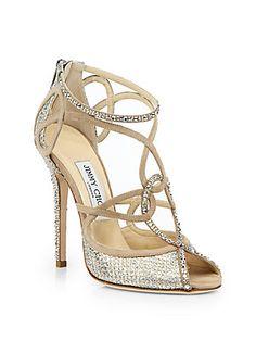 Jimmy Choo Swarovski Crystal-Covered Suede Sandals
