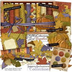 Digital scrapbooking fall and card making fall kit with stitched pumpkins FQB - Autumn Enchantment Collection