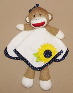 Baby Starters Sock Monkey Daisy Blue Dot Security Blanket Lovey Rattle Sunflower #BabyStarters